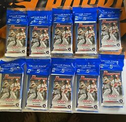 Lot Of 10 2021 Mlb Bowman Baseball Value Pack + 5 Camo Parrallel Exclusive