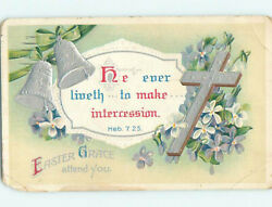 Pre-linen Easter Religious Hebrews Bible Quote And Jesus Cross With Bells Hr2609