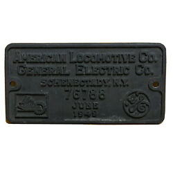 June 1949 American Locomotive Co General Electric Schenectady Ny Train Id Plate