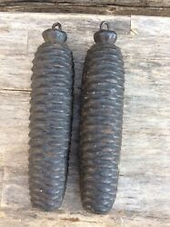 A Pair Of Antique Large German Black Forest Cuckoo Clock Weights