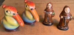 Antique Hand Painted Ceramic Pelicans And Peasant Garb Salt And Pepper Shakers
