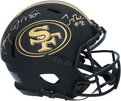 Joe Montana Steve Young Jerry Rice 49ers Signed Eclipse Auth Helmet And Inscs