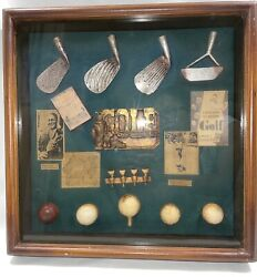 Vintage History Of Golf Collectible Shadow Box Wood Framed Hanging W/ Glass Case