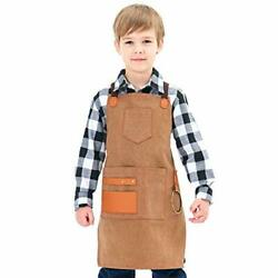 Heavy Duty Work Apron For With Pockets And Adjustable Kid Boys Golden Rod