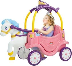 Kids Girls Princess Pink Carriage And Horse Outdoor Parents Pull Ride On Toy New