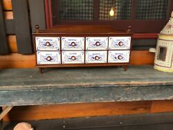 Antique Vintage Spice Cabinet/display 22x10.5x5 Blue And White 8 Drawers 1960's