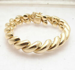 8 Bold Shiny San Marco Bracelet With Box Clasp Lock Real 14k Yellow Gold