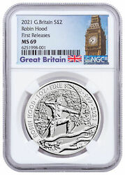 2021 Great Britain Myths And Legends Robin Hood 1 Oz Silver Andpound2 Ngc Ms69 Fr Big Ben