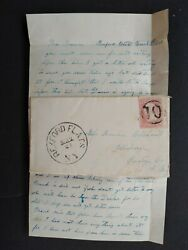 Ny Rexford Flats 1860s 65 Cover + Letter Sotn Fancy 10 In Circle Dpo