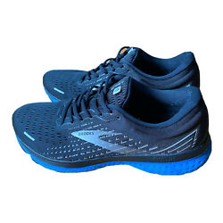 Brooks Mens Ghost 13 1103481d018 Black Blue Running Shoes Lace Up Size 12 D