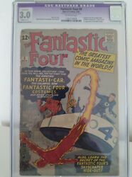 Fantastic Four 3 Cgc 3.0 Gdr Key 1st Costumes Stan Lee Jack Kirby Pence 1962