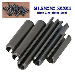 M1.5m2m2.5m3m4 Black Zinc-plated Slotted Spring Tension Pins Sellock Roll Pins