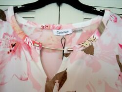 Calvin Klein Womans Knit Pink Floral 3/4 Sleeves Dress Top-size 3 X