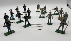 Metal Gray And Blue Civil War Figures, Set Of 16 With Bayonets