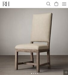 Four 4 Restoration Hardware Deconstructed Georgian English Fabric Side Chairs
