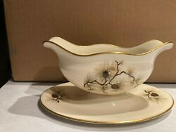 Free Ship Best Deal Lenox Pine Gravy Boat With Attached Underplate
