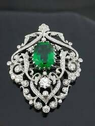 Vintage Victorian Green Emerald Anddiamond 14k White Gold Over Inspired Brooch Pin