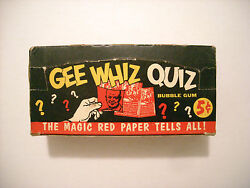 1957 Gee Whiz Quiz Isolation Booth Card Display Box Topps Very Rare
