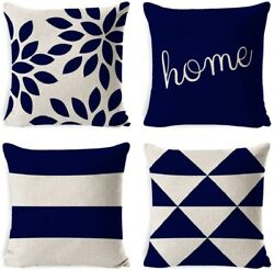 """Set of 4 Indoor Ourtdoor Inshere Decorative Pillow Covers 18""""x18"""" quot;Homequot; Blue"""