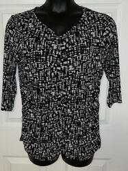 Coldwater Creek Sz 1x 18 Black White Abstract Ruched Stretch Top Euc