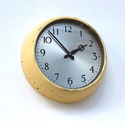English 1950s Gents Midcentury Vintage Wall Clock Industrial Factory