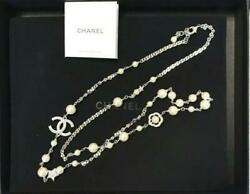 Necklace Women Pearl Star Silver White Crystal Coco Mark W/manual
