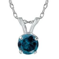 1 1/2ct Treated Blue Round Cut Diamond Solitaire Pendant Solid 14k White Gold
