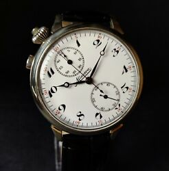 Minerva Chronograph Military Wwi Watch Antique 1910and039s Vintage Watch Menand039s