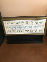 Vintage Handmade Wooden Spice Cabinet With Handmade Embroidery Sample Door Cover
