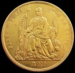 1863 Yb Gold Peru 8 Escudos 20 Soles Seated Liberty Coin Lima Mint