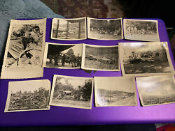 Ww2 Photo Group-11 Photos Seabees Navy-tanks Trucks Blown Buildings Soldiers