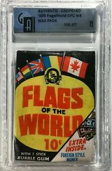1970 Opc Flags Of The World Gai 8 Nm-mt Unopened Wax Pack Topps Psa