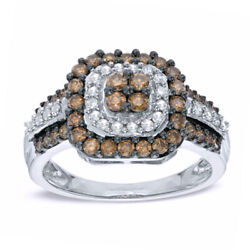 7/8 Ct Champagne And White Natural Diamond Double Frame Ring In 10k White Gold