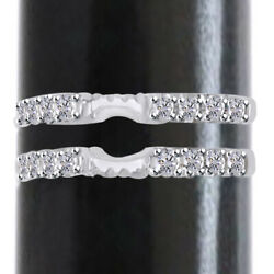 0.76 Ct Antique Cathedral Ring Simulated 14k White Gold Guard Solitaire Enhancer