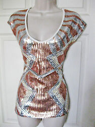 Bebe White Bronze Silver Tropical Sequin Studded Top Shirt New Small S