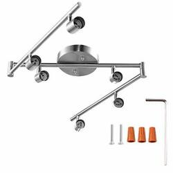 6-light Adjustable Dimmable Track Lighting Kit By Flexible Foldable Silver