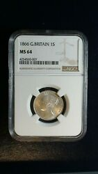 1866 Great Britain One Shilling Ngc Ms64 Near Gem 1s Silver Coin Buy It Now