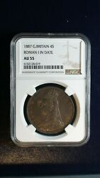 1887 Great Britain Four Shilling Ngc Au55 4s Silver Coin Buy It Now