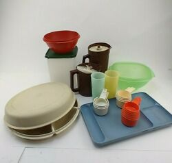 Tupperware Lot Of 12 Vintage Bowls Pitcher Storage Containers And More Used Cndt