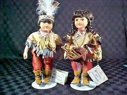 12 Porcelain American Indian Dolls - Boy And Girl In Full Costume Mocamba