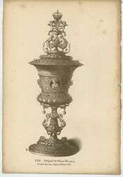 Antique Medieval Cup Coat Of Arms Queen Jane Seymour Hans Holbein Old Art Print
