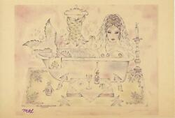 Mermaid Corset Candlelight Bath Claw Foot Tub Print On Antique Vellum Paper