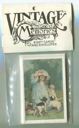 6 Vintage Sealed Victorian Girl Child Spaniel Puppy Dogs Pets Playing Note Cards