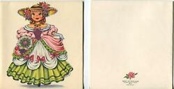 Vintage Victorian Girl Doll Of England Roses Print 1 Flower Market Country Card