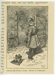 Antique Victorian Girl Child Wooden Fence Giving Her Dolls Ride Miniature Print