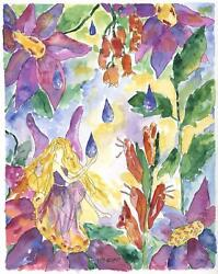 Fairy Garden Flowers Floral Impressionism Rain Drops Botanical Topiary Painting