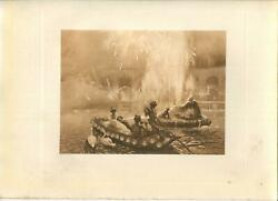 Antique Gondolier Boat Candles Swans Evening Fete Water Fountain Flute Pan Print