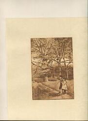 Antique Sepia Rookery Elms Elm Tree Brother Sister Fishing Pole Landscape Print