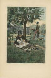 Antique Aquatint Hand Colored Mother Dad Baby Medlar Tree Fishing Etching Print