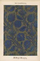 Antique Hand Colored Illuminated Blue Gold Ecclesiastic Church Pulpit Old Print